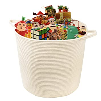 Amazon Com Indressme Large Cotton Rope Storage Basket Woven Toys