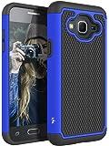 J3 Case, Express Prime Case, Amp Prime Case, LK [Shock Absorption] Hybrid Armor Defender Protective Case Cover for Samsung Galaxy J3 / Express Prime / Amp Prime (Blue)