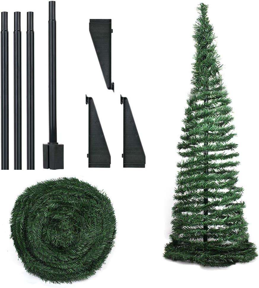 JOYGOGO 6FT Artificial Christmas Tree, Collapsible Pop Up Christmas Tree for Holiday Xmas Decorations, Home, Party, Office Decor