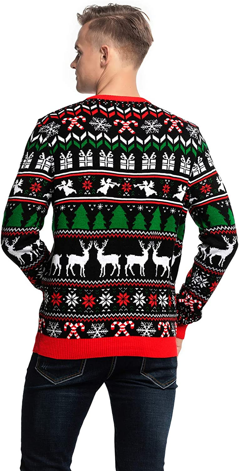 Unisex Mens Ugly Christmas Sweater Cute Reindeer Knitted Classic Funny Santa Fair Isle Novelty Pullover for Men