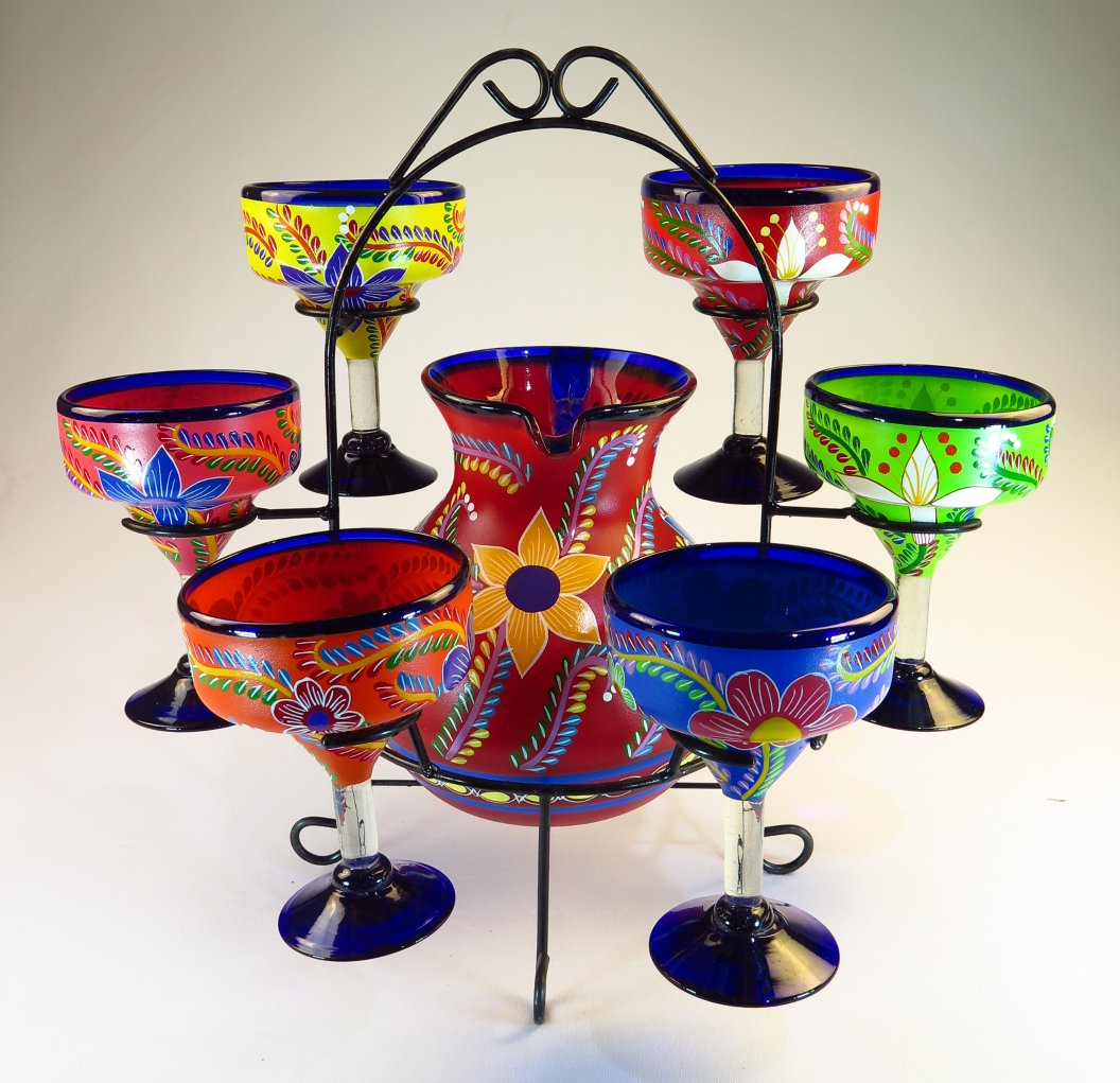 Mexican Margarita Glasses & Pitcher set with display rack, Hand Blown, Hand Painted, mixed colors w/various flowers, 14 OZ