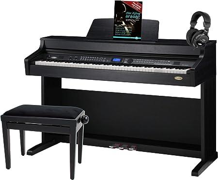 Set de piano electrónico Classic Cantabile DP-A 410 SM negro mate con banqueta, auriculares y manual