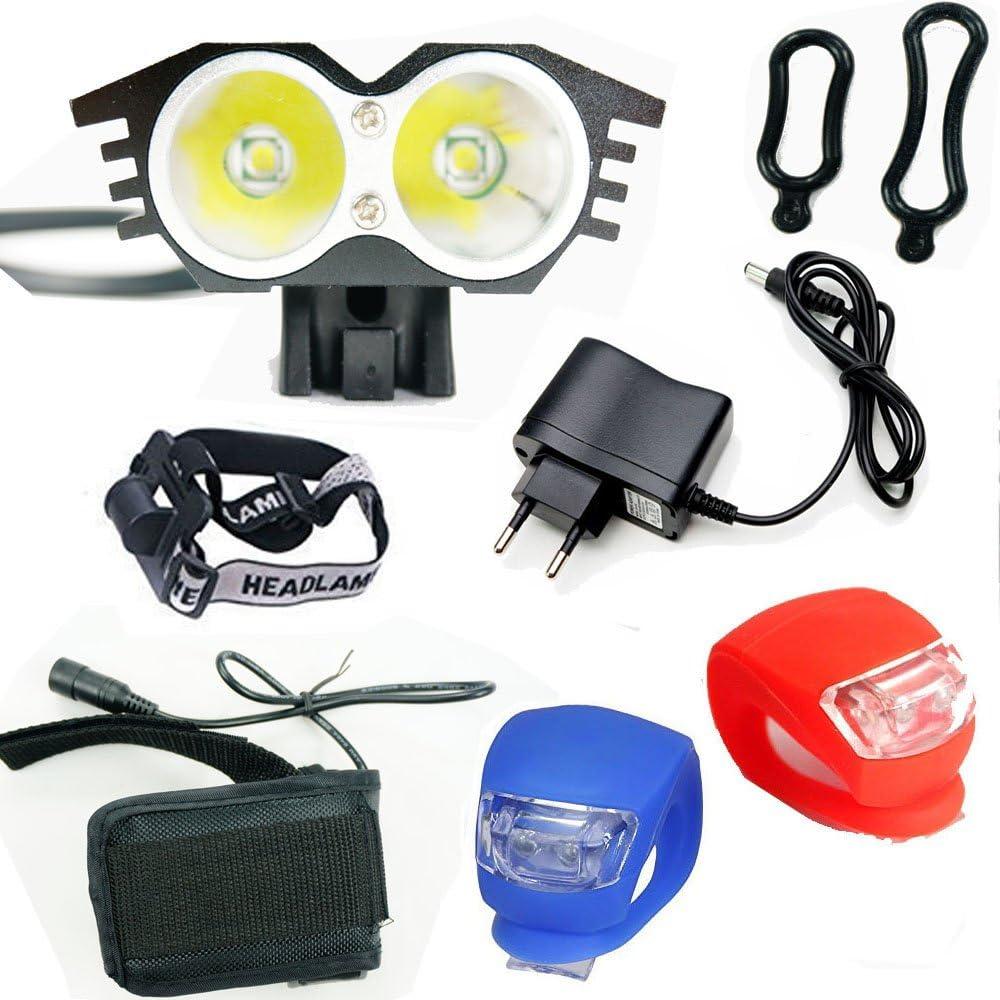 Ya-Fure Linterna LáMPARA para Bicicletas Bici CREE XM-L U2 - Luz LED Frontal para Manillar de Bicicleta (2 focos, 5000 Lumens, 4 Modos) con Llavero Linterna