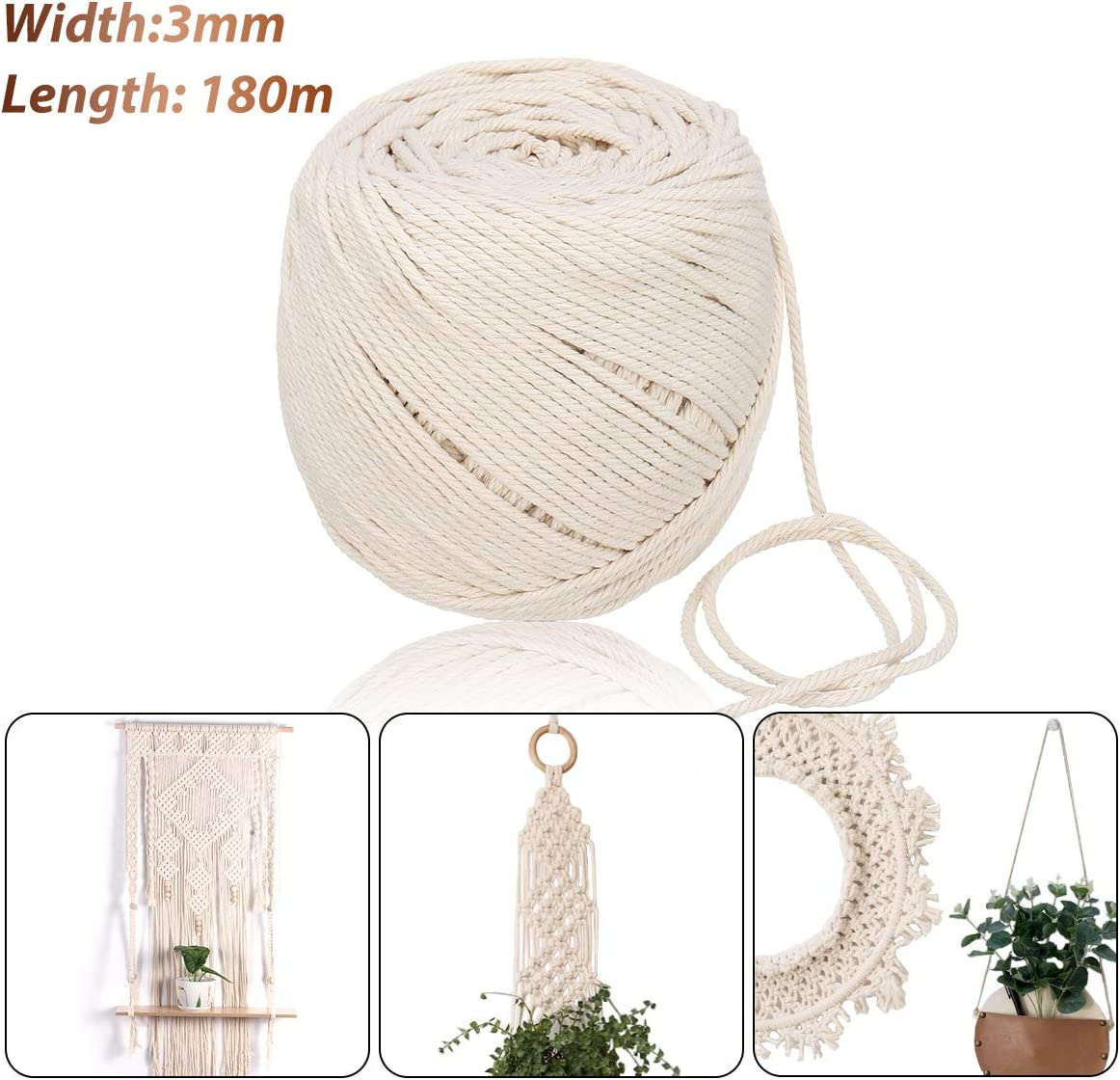 Jeteven 3mm x 180m Cuerda Cordel de Algodón Hilo Macramé 100% Natural Trenzado Algodón DIY Planta de Colgar en la Pared Percha Hecha a Mano Craft para Decoración Interior Decoración Bohemia: Amazon.es: