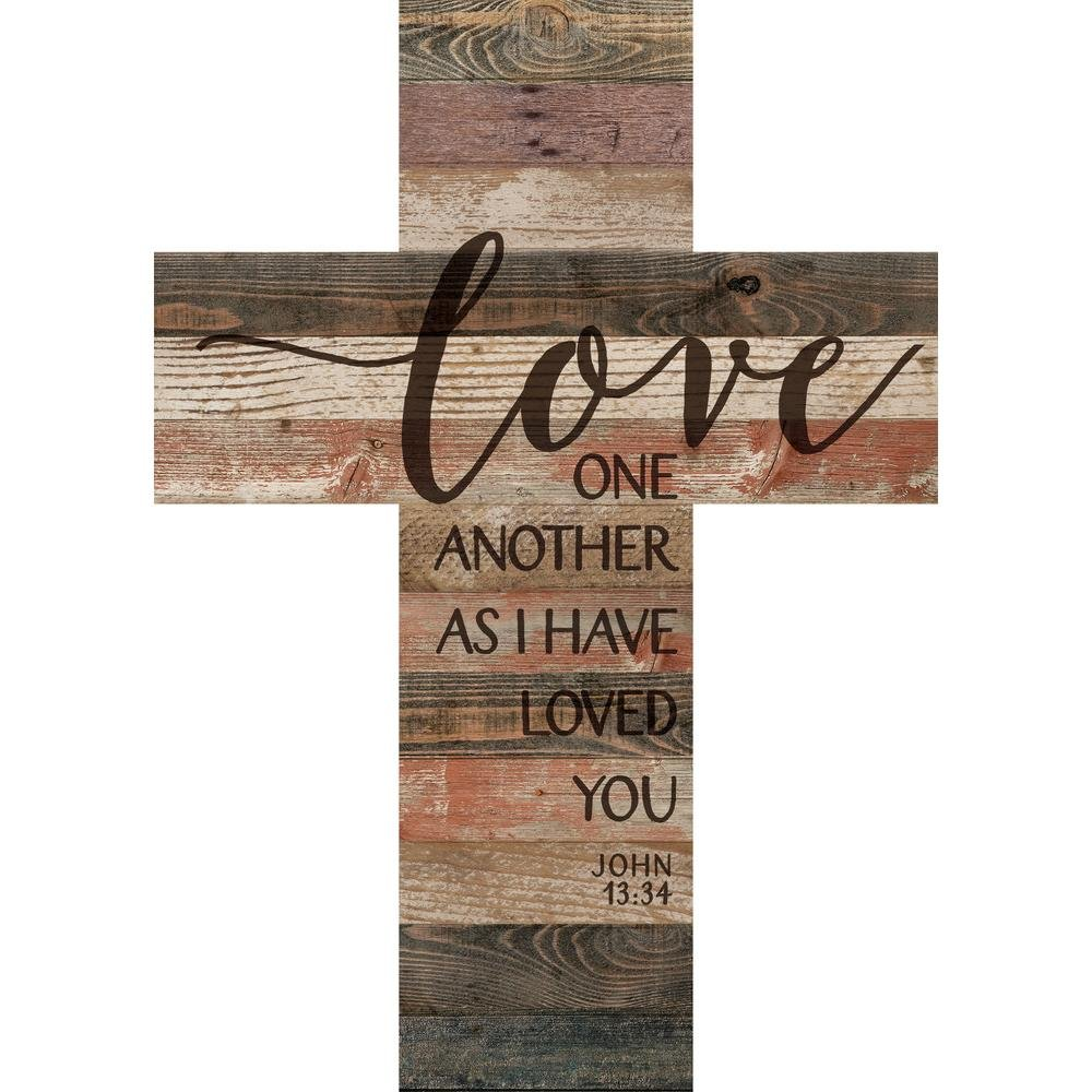 P Graham Dunn Love One Another As I Have Loved You Distressed 20 x 14 Wood Wall Art Plaque Cross