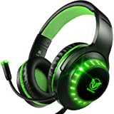 Pacrate Gaming Headset with Microphone for PS4 PC Xbox One Headset Stereo Surround Sound Intense Bass Headphone with LED Ligh