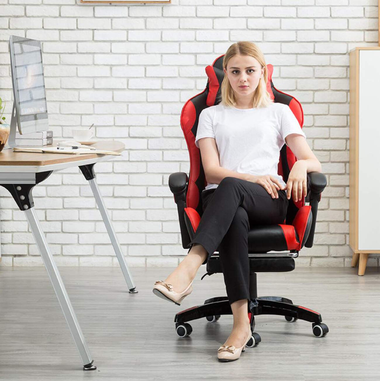 Schwarz + Wei/ß Nlne Gaming-B/ürostuhl ,Black Ergonomischer Dreh-Computer-Stuhl Mit Lordosenst/ütze Und Rocker Headrest Und