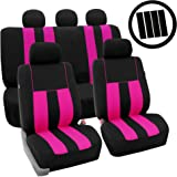 FH Group Stylish Cloth (Airbag & Split Ready) Full Set Car Seat Covers Combo-FH2033 Steering Wheel Cover & Seat Belt pads, Pink/Black- Fit Most Car, Truck, Suv, or Van