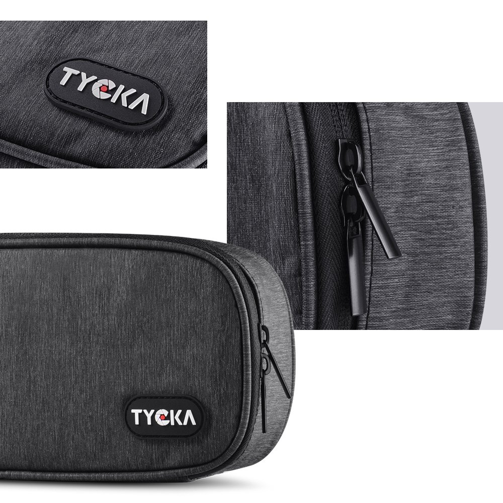 Deep Gray Cord TYCKA Mini Travel Electronics Accessories Storage Bags/with Two Adjustable Dividers for Cable SD Cards USB Chargers