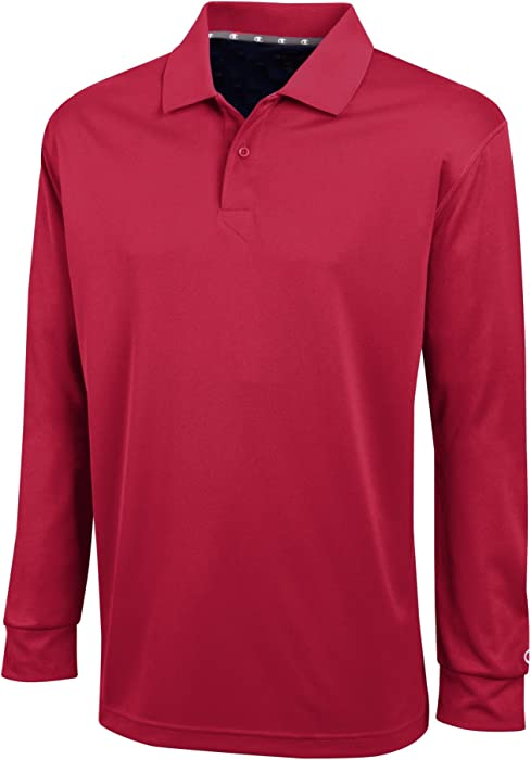 130471bd Men's Ultimate Double Dry Long Sleeve Polo # H143. Back. Double-tap to zoom