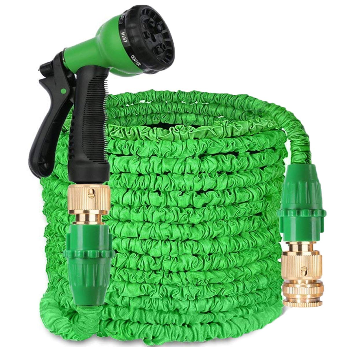 AIGUMI Garden Hose Pipe, 150Ft Expandable Garden Hose {IMPROVED}Magic Water Hose Pipe Double Latex Core with Brass Fittings & 8-pattern Spray Nozzle (Green)