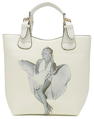 505801b9d0ce Big Handbag Shop Marilyn Monroe Designer Print Top Handle Shoulder Bag  (Cream - White Trim