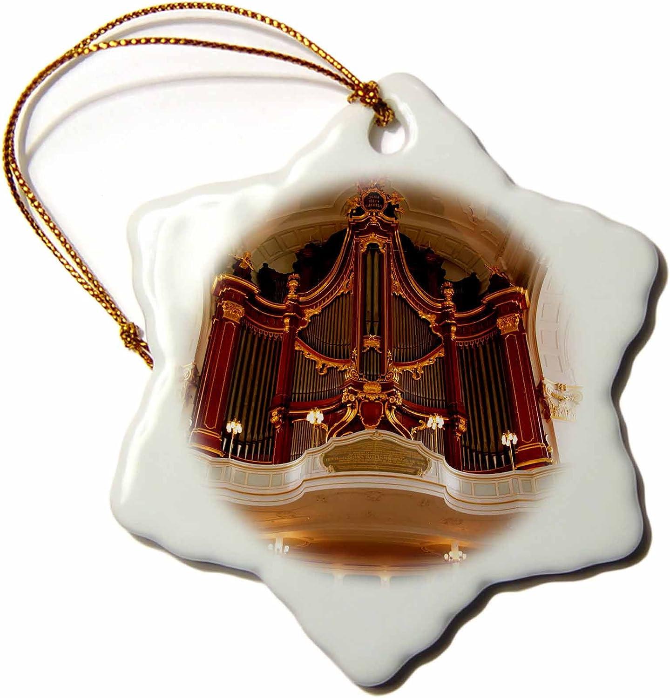 "3dRose Germany, Hamburg St Michaels Church Organ Pipes Snowflake Ornament, 3"""