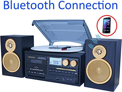 Boytone BT-28SPB Record Turntable System with Bluetooth CD Cassette Black REFURB