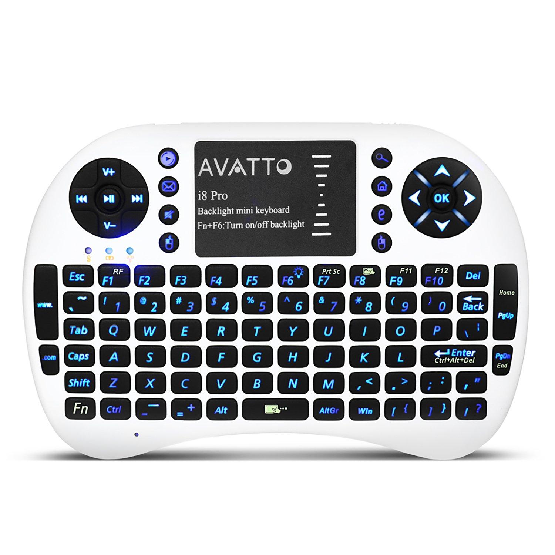 (actualizado con retroiluminación) avatto I8 Pro Gaming portátil inalámbrico Mini teclado y ratón para SMART TV, Android TV Box, Paspberry Pi, ordenador ...