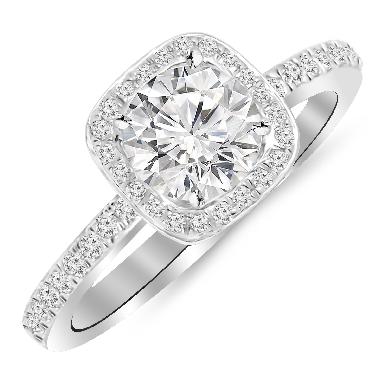 0.91 Carat Classic Halo Style Cushion Shape Diamond Engagement Ring 14K White Gold with a 0.60 Carat H-I I2 Round Brilliant Cut/Shape Center