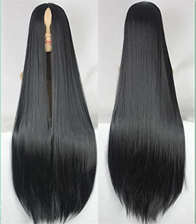 Amazon.com  JYWIGS Super Long 100CM Straight Wig No Bangs Extra Long Middle  Parted Rose Network Black Cosplay Hair Party Anime with Hairnet (Black)   Beauty f898f3582