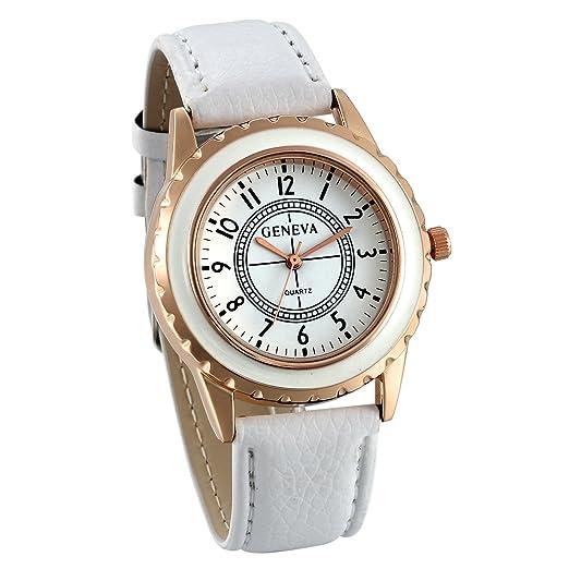 JewelryWe Relojes para Mujer Analógico Correa de Cuero Retro Vintage, Reloj de Pulsera para Mujer