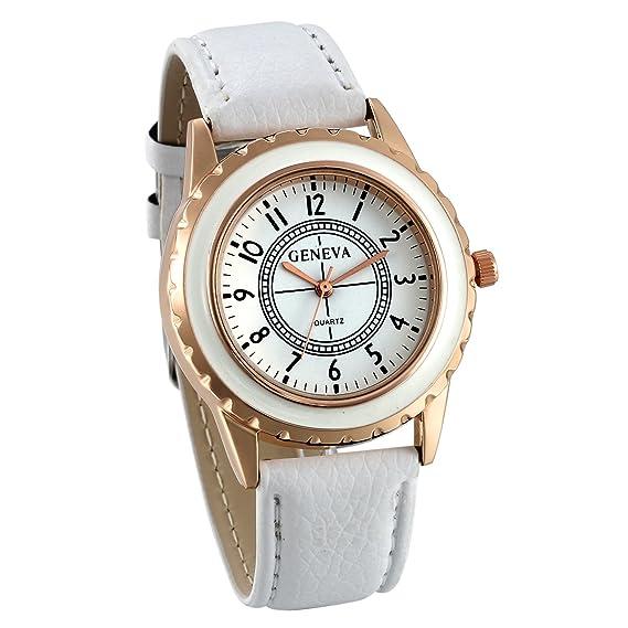 JewelryWe Relojes para Mujer Analógico Correa de Cuero Retro Vintage, Reloj de Pulsera para Mujer Blanco 3 Colores Disponibles para el Verano 2017: ...