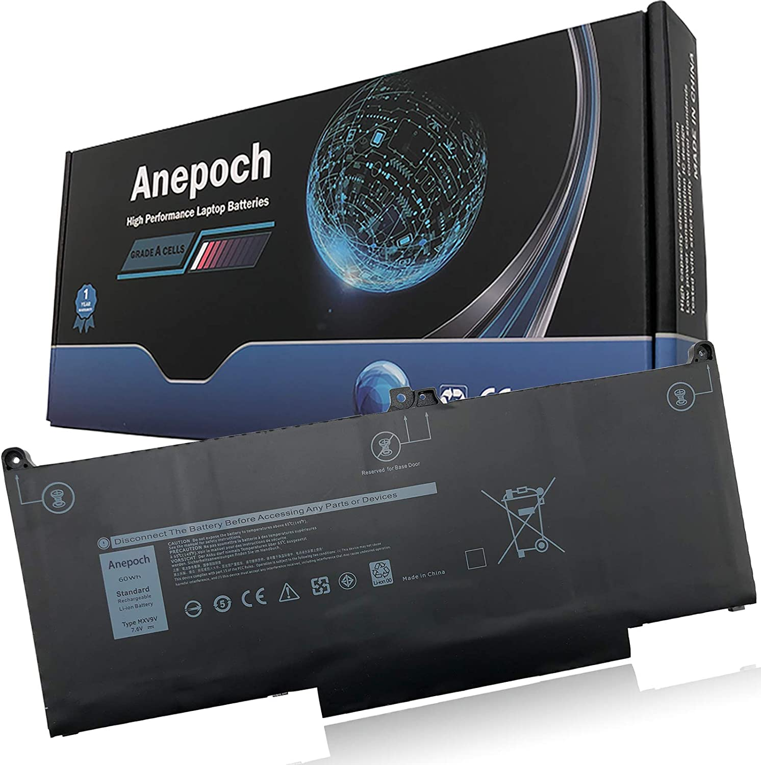 Anepoch MXV9V Laptop Battery Compatible with Dell Latitude 5300 5310 7300 7400 E5300 E7300 E7400 Series Notebook 5VC2M 05VC2M 829MX 0829MX 7.6V 60Wh 7500mAh 4-Cell