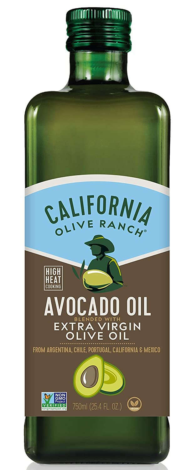 Amazon Com California Olive Ranch Avocado Oil Blended With Extra Virgin Olive Oil Cooking Baking Cold Pressed Evoo Mild Buttery Flavor High Heat Cooking 425 F Smoke Point