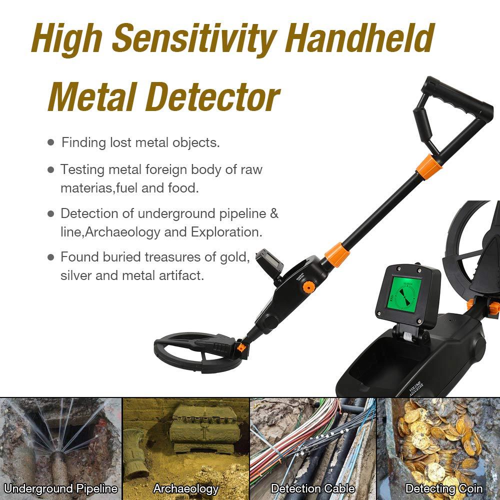 Dightyoho Detector de Metales, Alta Sensibilidad, Pantalla LCD, Sugerencias de Profundidad, Varilla Ajustable, Fácil de Usar para Niños: Amazon.es: Jardín