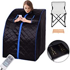 Giantex Portable Far Infrared Spa Sauna Full Body Slimming Weight Loss Negative Ion Detox Therapy In Home Personal Sauna w/ Heating Foot Pad and Folding Chair