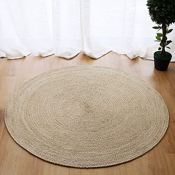 Amazon.com: Alfombra redonda estilo nórdico de yute claro ...