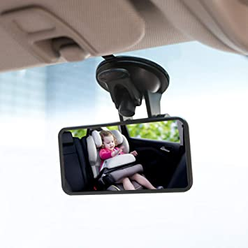 Wide Convex Shatterproof Glass Rear View Baby Car Back Seat Mirror Suction Cup on Windshield//Clip on Car Sun Visor Baby Car Mirror