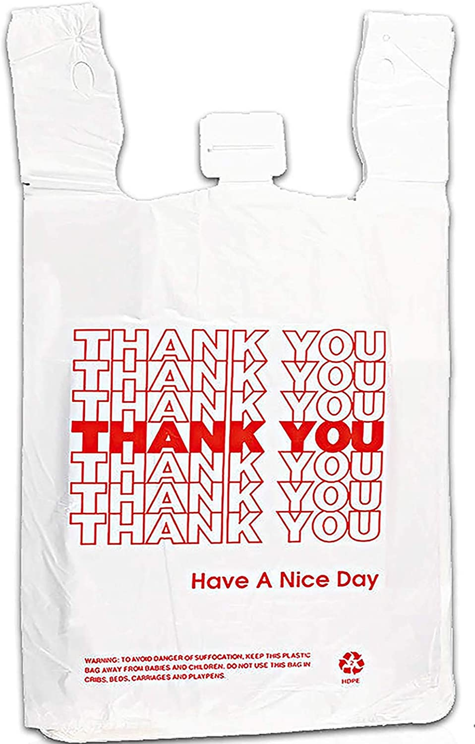 Thank You Bags,Reusable Plastic Grocery Bags - Great Bags for Shopping, Small Kitchen Trash and Garbage Cans, and Dog Waste - 300 Count,Case