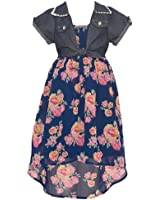 Big Girls Navy Floral Print Knotted Chambray Vest Hi-Low Casual Dress 7-14