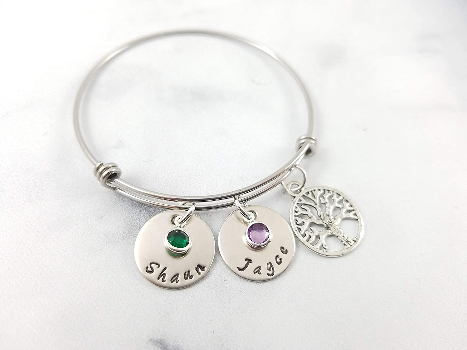 kaululu Mother Birthstone Bracelet for Women Charms Link Personalized 2 to 6 Birthstone Bracelet with Family Names Rhodium Plated Bracelet for Grandmother