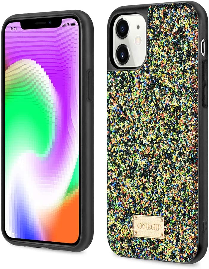 PULOKA iPhone 11 Case Glitter Sparkle Luxury Bling Phone Case for Women Girls [Supports Wireless Charging] [Soft Microfiber Lining] for iPhone 11 6.1 Inch - Black