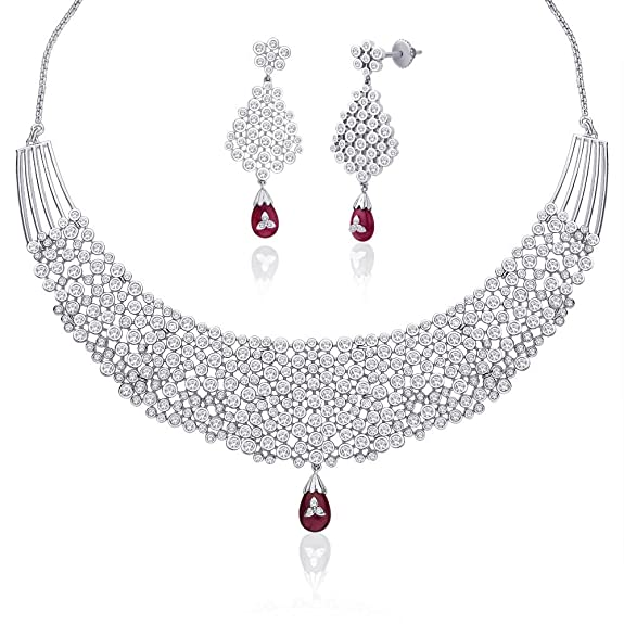 "Peora Rhodium Plated Red Cubic Zirconia ""Avalika"" Necklace Earrings Set (PN315S) Jewellery Sets at amazon"