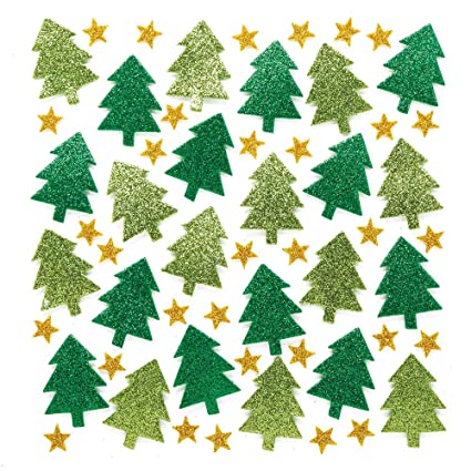 Baker Ross Christmas Tree Glitter Stickers Pack Of 100 For Kids Christmas Crafts And