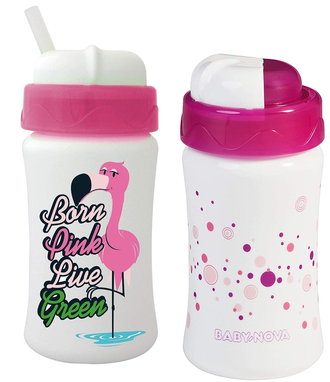 Cuipo Flamingo 2 Stk Strohhalmbecher Trinkbecher Baby Nova rosa