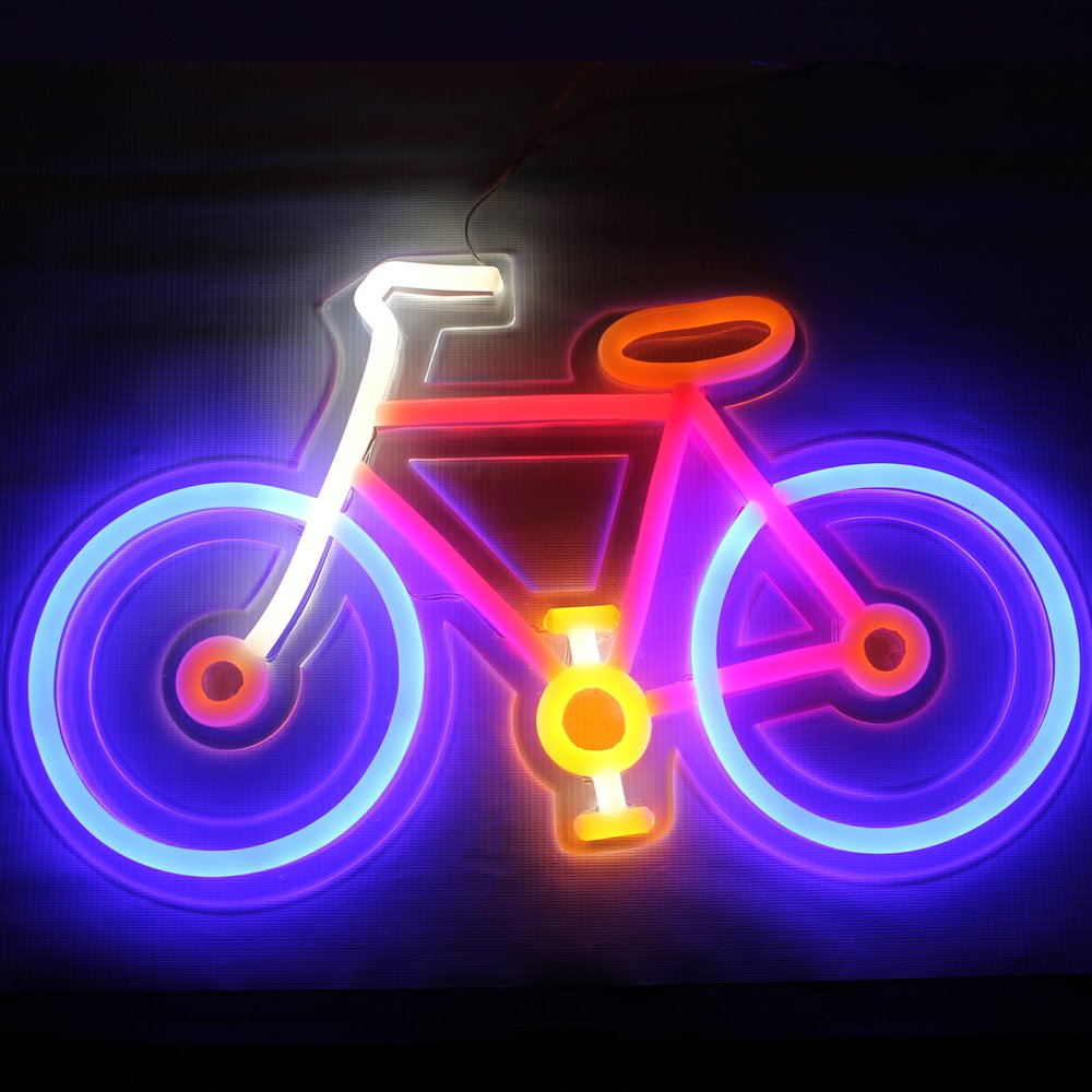 Business Signs Bicycle Neon Sign Light Custom Led Art Colorful Bike Shape  Sport Signs for Bike Shop Decorative Room Wall Window or Home Seasonal Décor