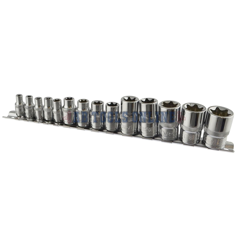 Torx//Star Female Sockets 14pcs Set 1//4 E24 3//8 and 1//2 Drive E Sockets E4