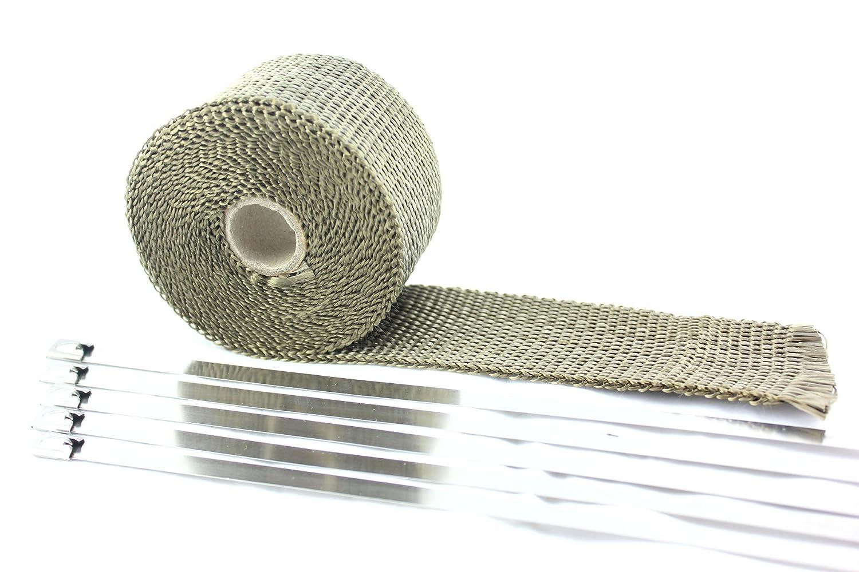 SWI Parts 2'X15ft LAVA Titanium Pipe Insulation Wrap Heat Exhaust Wrap W/5 Stainless Steel Zip Ties SW INDUSTRIAL