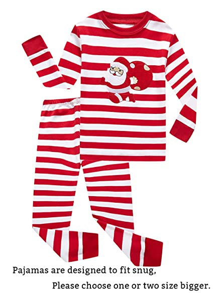Image Unavailable. Image not available for. Color  IF Pajamas Christmas  Striped Santa Claus Little Girls Boys Pjs 100% Cotton Long Sleeve Kids 463297989