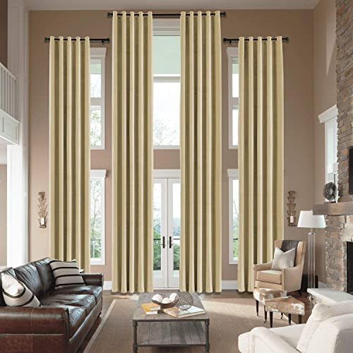 cololeaf Indoor Extra Wide Curtains with Grommets Privacy Room Divider Curtain Extra Long Curtains Privacy Velvet Grommet Top Drapery for High Window – Khaki 100W x 216L Inch 1 Panel
