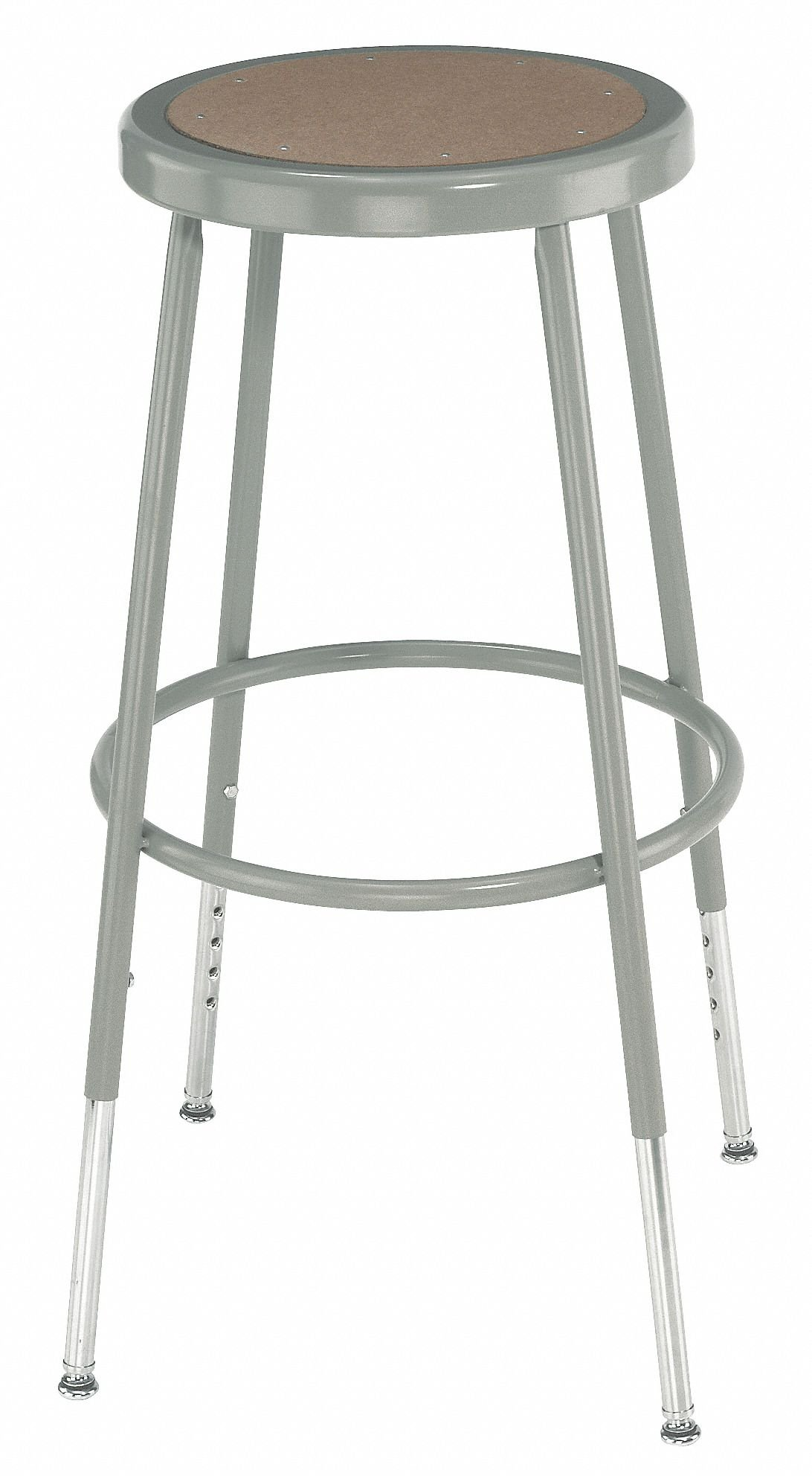 Round Stool with 19'' to 27'' Seat Height Range and 300 lb. Weight Capacity, Gray