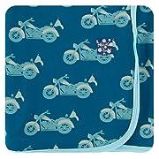 Kickee Pants Little Boys Print Swaddling Blanket - Heritage Blue Motorcycle, One Size