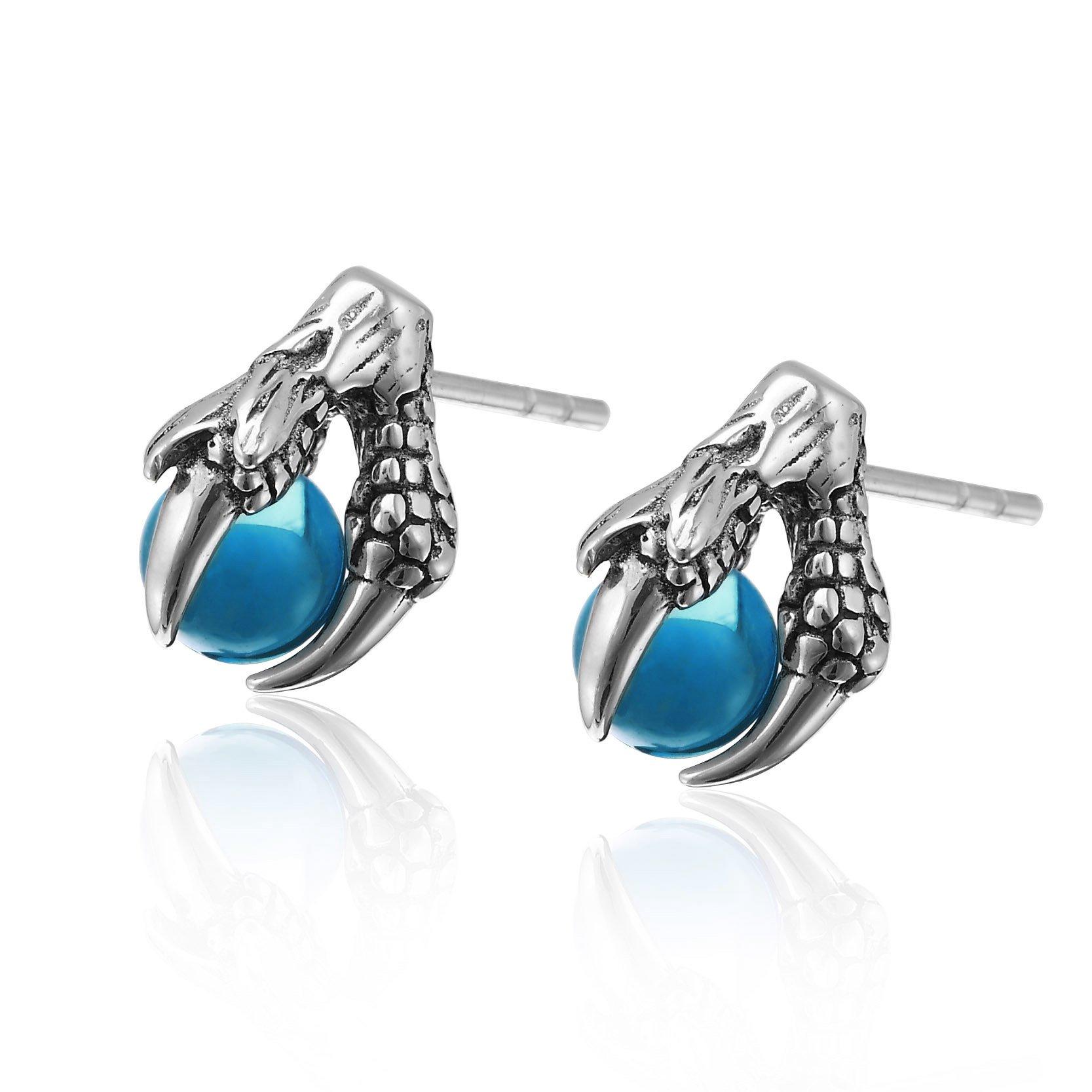 Vintage Stainless Steel Dragon Claw Mens Womens Stud Earrings