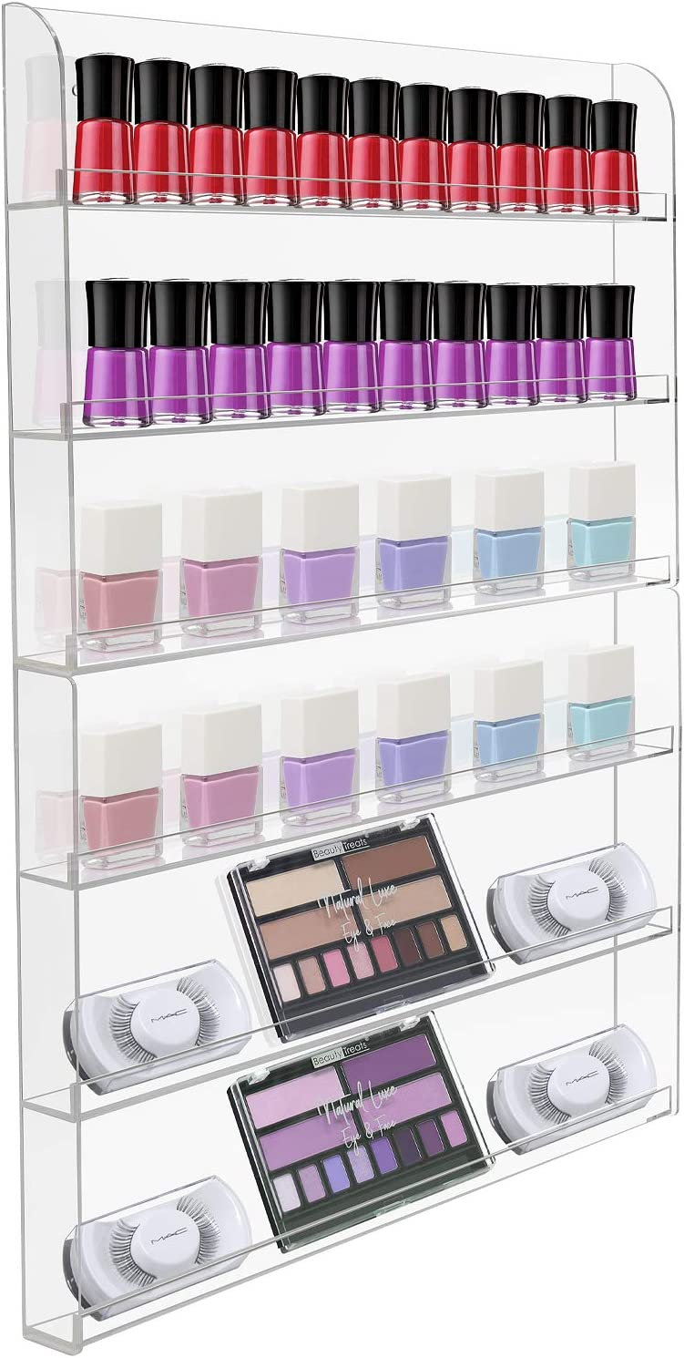 Sorbus Nail Polish Wall Rack Display Holder - Stylish Organizer for Home, Salon, Spa, Tattoo Shop, 6-Tiers, Holds Up to 90 Bottles, Acrylic 2-Piece Display
