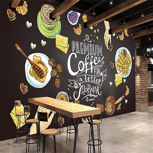 Sucsaistat Mural de Papel Tapiz 3D Café Comida Pintura Mural Papel ...