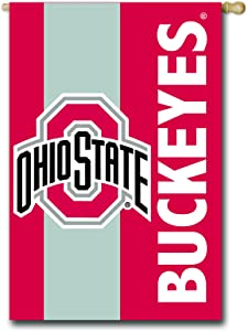 Team Sports America Collegiate Ohio State University Embroidered Logo Applique House Flag, 28 x 44 inches Indoor Outdoor Double Sided Decor for Collegiate Fans