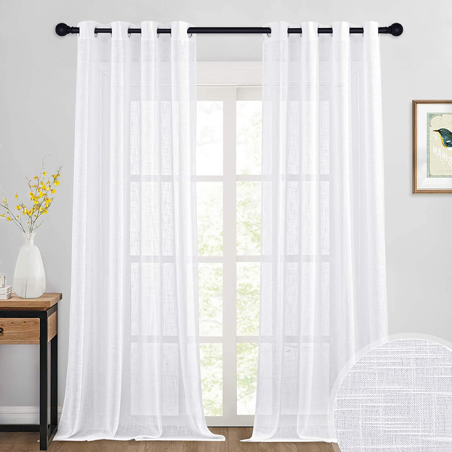 RYB HOME White Curtains Sheer - Linen Textured Curtains Privacy for Bedroom Christmas Windows Decor, Natural Light Flirt Panels for Patio Sliding Door Living Room, W 52 x L 95, 1 Pair