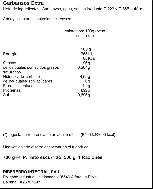 Jae - Garbanzos Extra, 780 g - , Pack de 6: Amazon.es ...