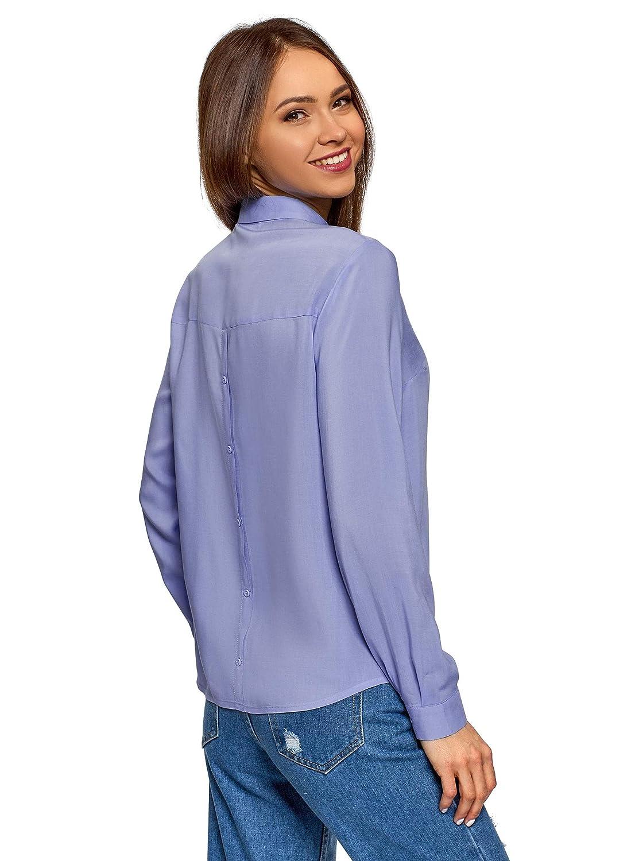 oodji Ultra Mujer Blusa de Algod/ón con Cremallera en la Espalda